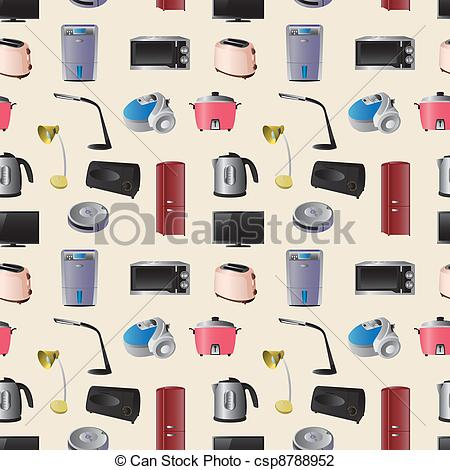 Vector Illustration of Household appliances seamless pattern.