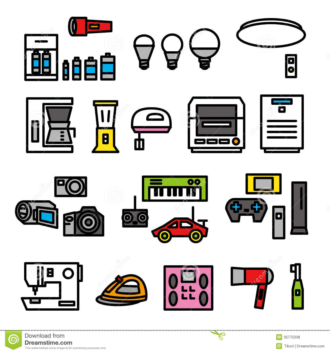Electric Goods Icons Royalty Free Stock Images.