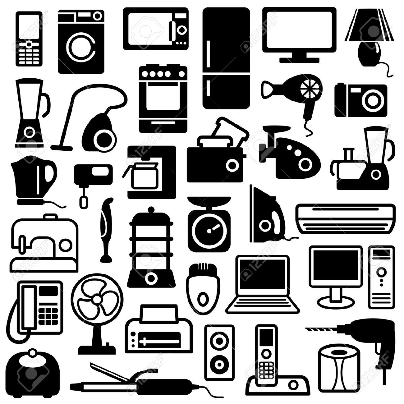 Home Appliances Icons Royalty Free Cliparts, Vectors, And Stock.