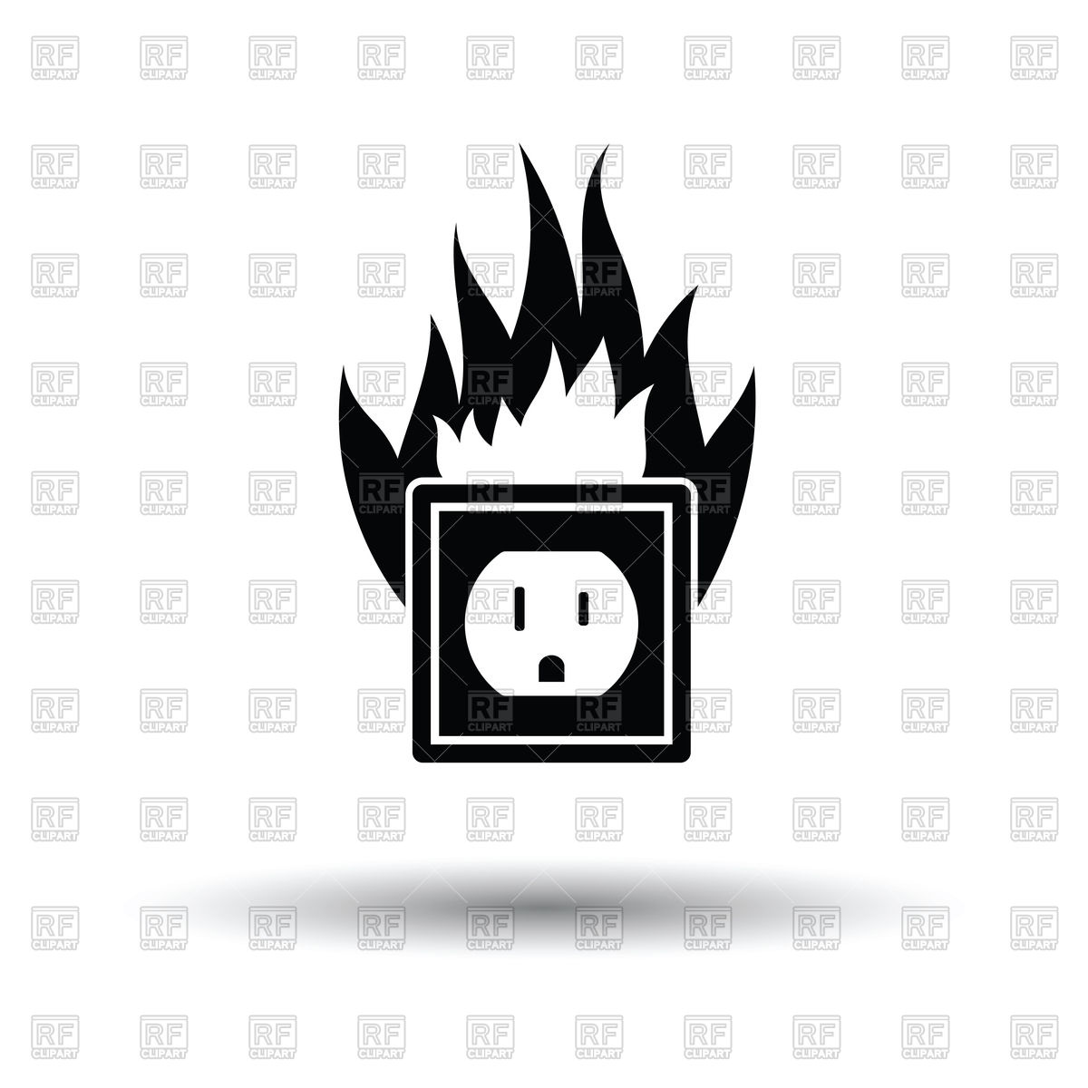 Electrical outlet fire icon Stock Vector Image.