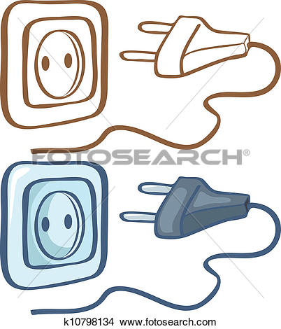 Clipart of Electrical plug and socket k10798134.