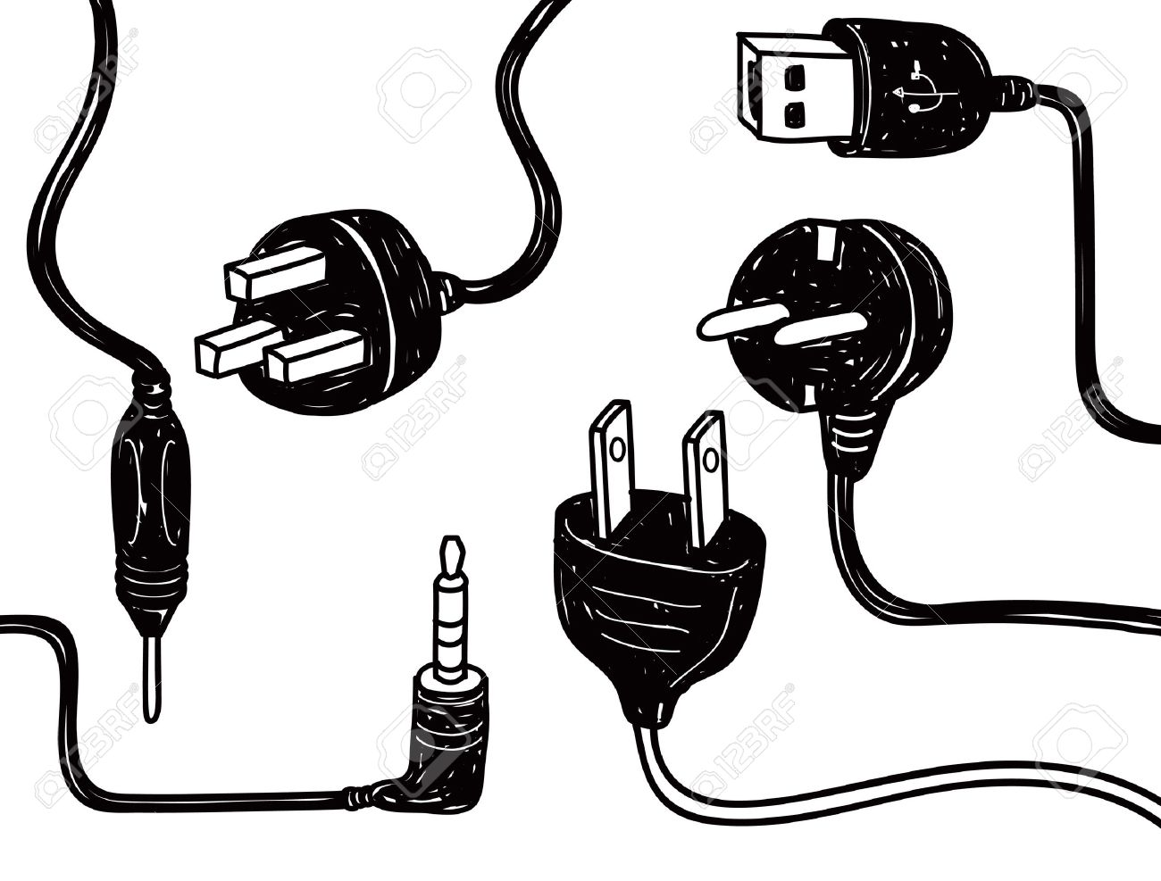 Electricity Cord Doodle Royalty Free Cliparts, Vectors, And Stock.