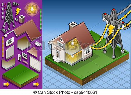 Clipart of Isometric house powered by electrical tower.