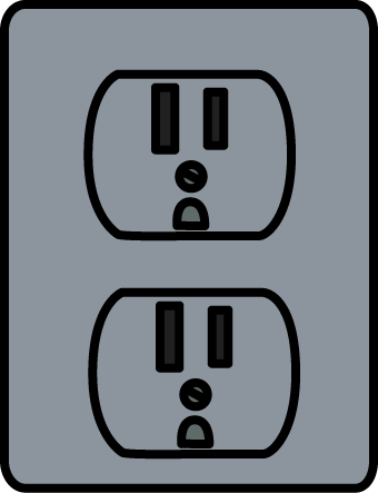Silver Electrical Outlet Clip Art.
