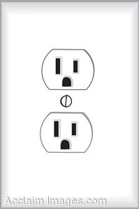 Clip Art of an Electrical Wall Plug.