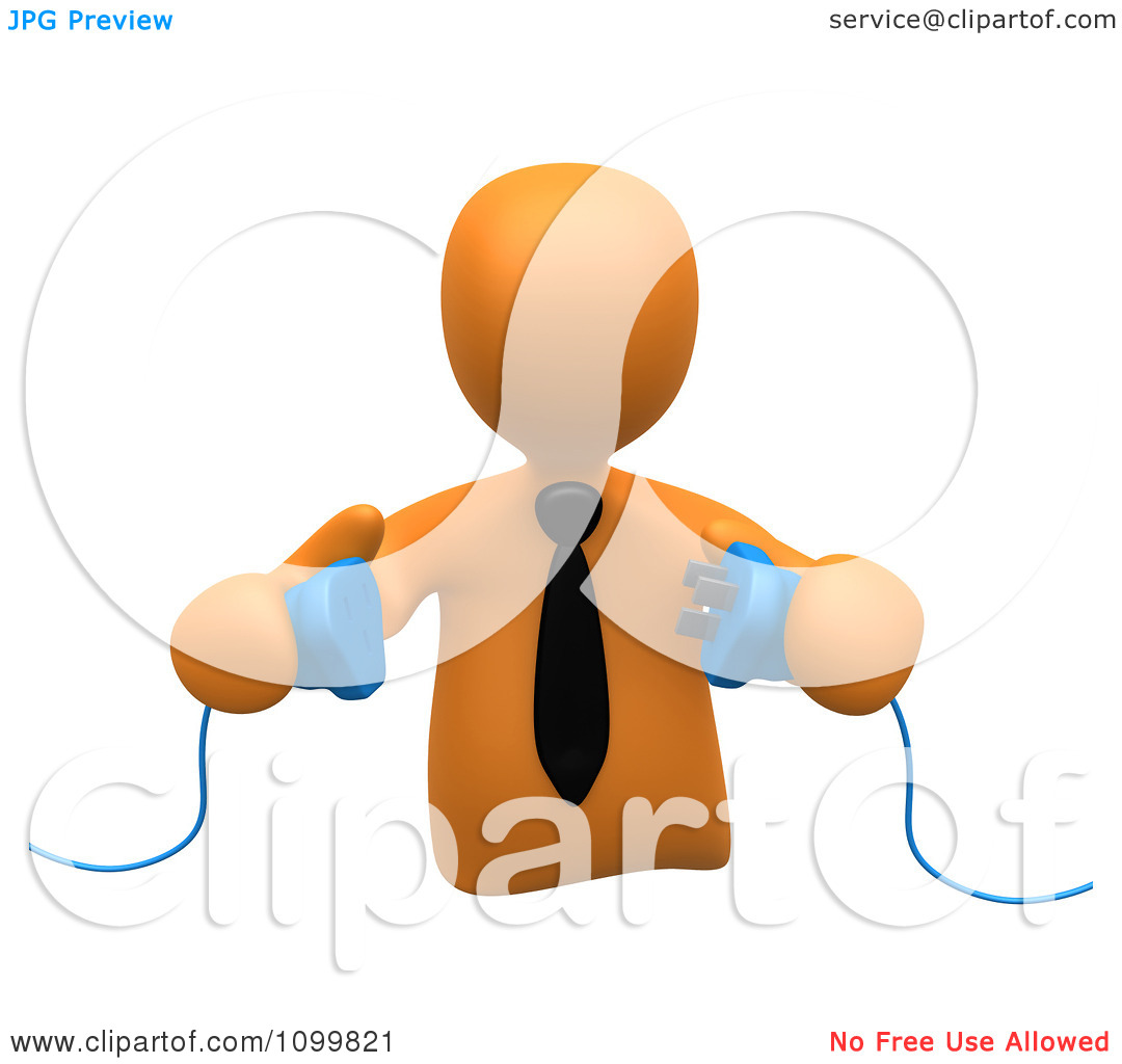 Clipart 3d Orange Businessman Prepared To Connect Electrical Power.