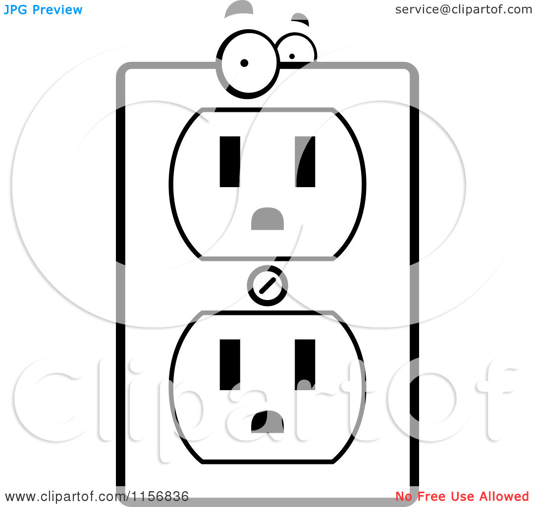 Cartoon Clipart Of A Black And White Electrical Outlet Character.