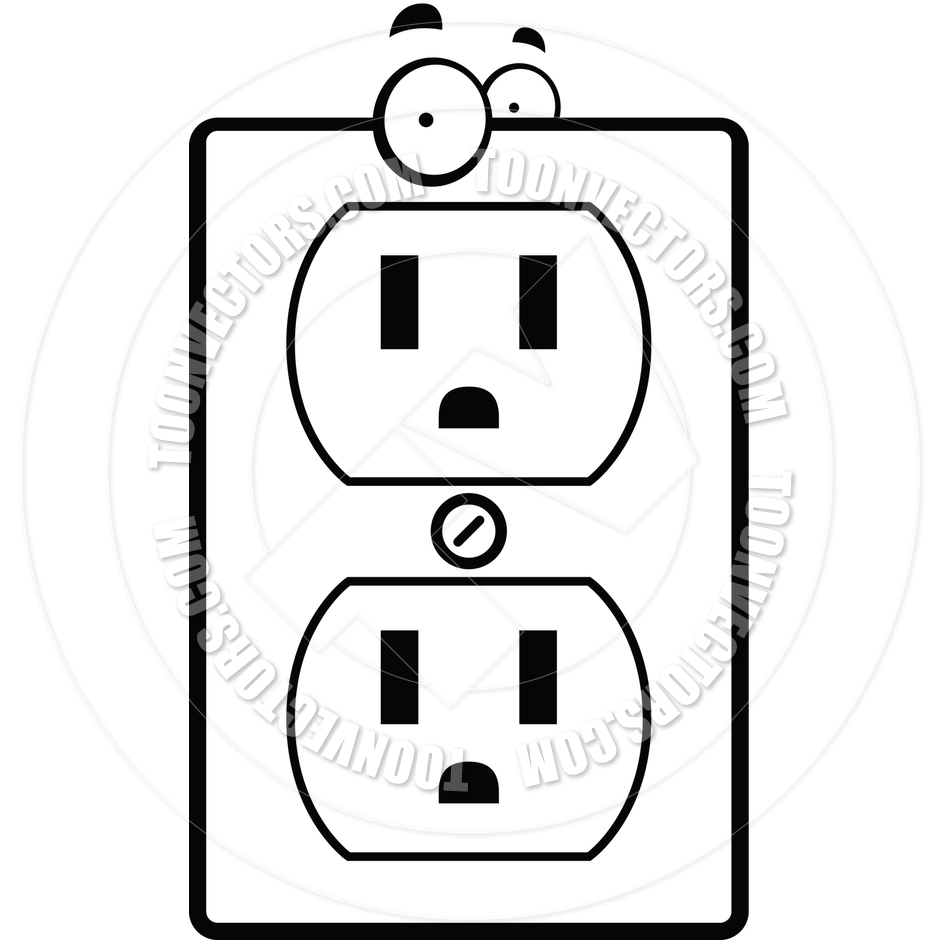 Cartoon Electrical Outlet (Black and White Line Art) by Cory.