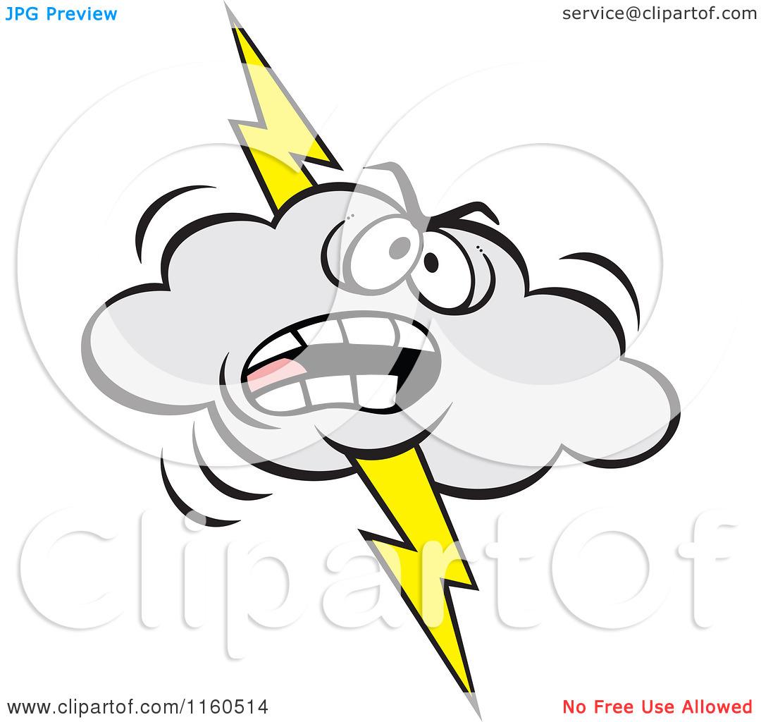 Cartoon of an Angry Lightning Storm Cloud Mascot.