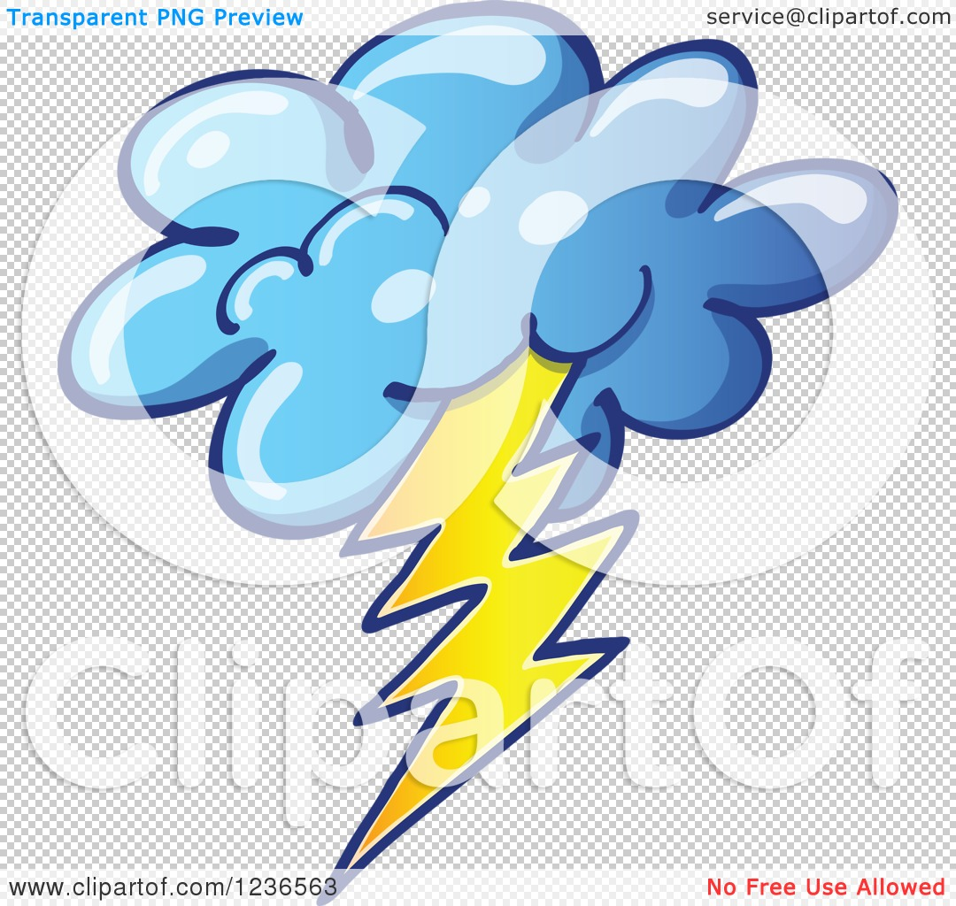Clipart of a Storm Cloud with Lightning.