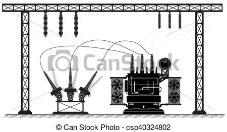 Vector Clipart of Electrical substation. The high.