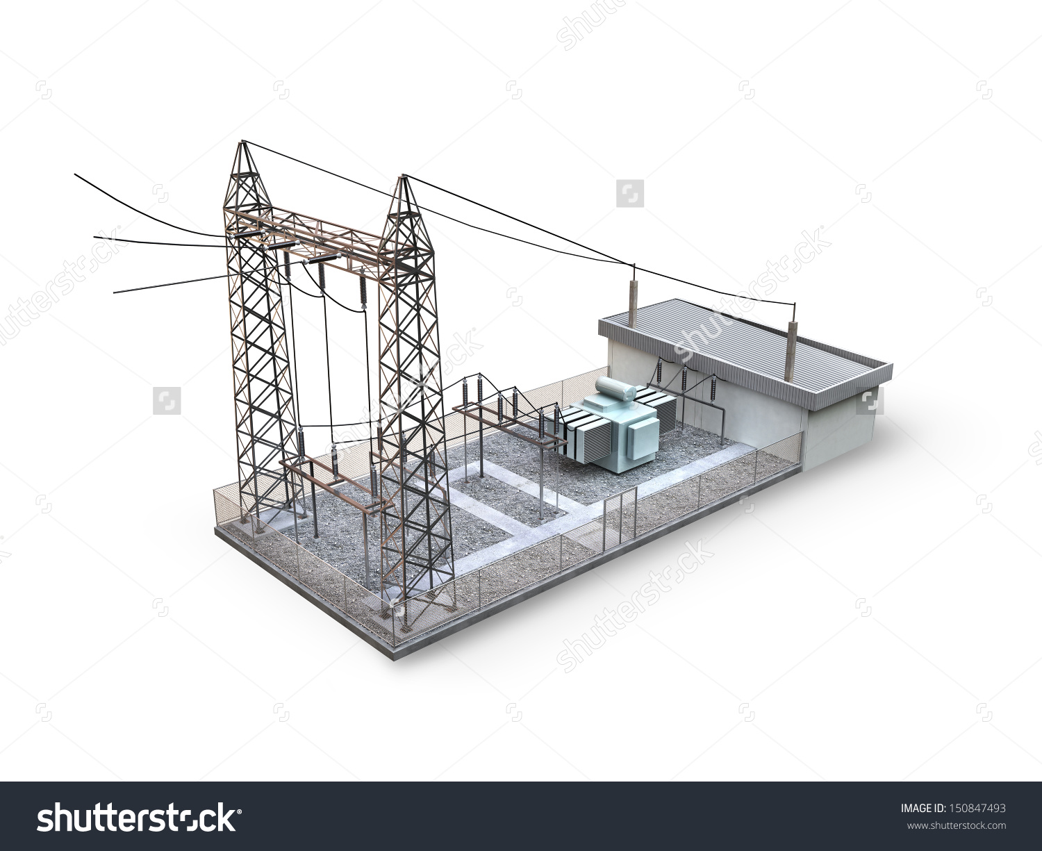 Substation Isolated On White Background Stock Illustration.