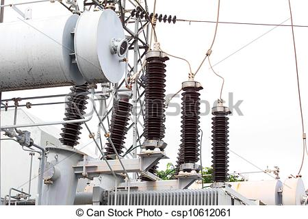 Stock Image of Substation electric power high voltage.