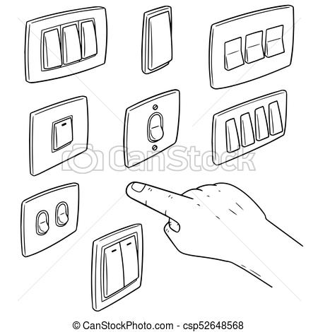 vector set of electric switch.