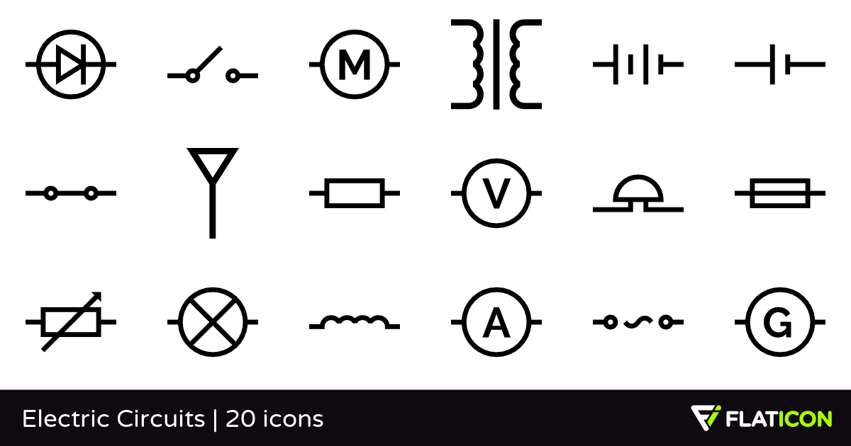 Electric Circuits 20 free icons (SVG, EPS, PSD, PNG files).
