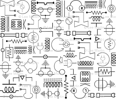 Download Free png Electrical Symbols fabric jabiroo Spoonflower.