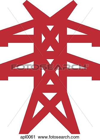 Clipart of Drawing of an electrical tower apl0061.