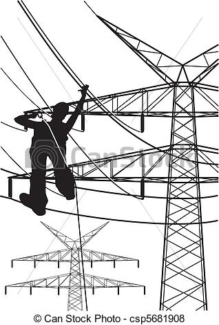 Stock Illustrations of electrical tower constructions works.