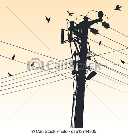 Vector Clipart of transmission tower.