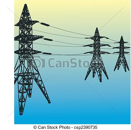 Clipart Vector of Electrical tower.