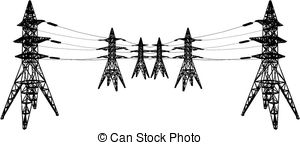 Vector Clipart of Electrical transmission towers in perspective.