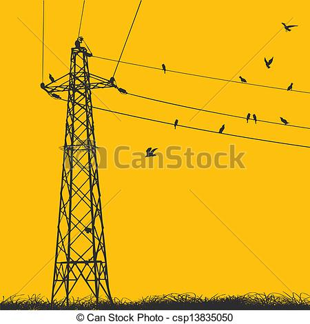 Clipart Vector of transmission tower.