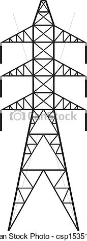 Clip Art Vector of Power line (Silhouette of Power line and.