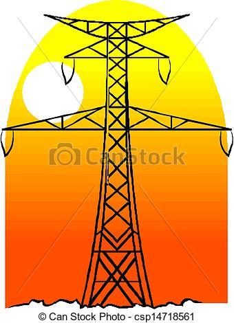 Clip Art Vector of High voltage power pole line vector csp14718561.