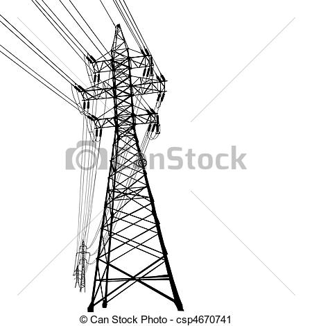 Vector Clip Art of High voltage power line.