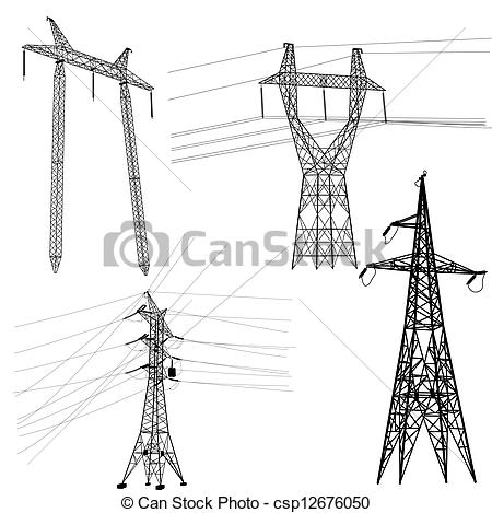 Clipart Vector of Set silhouette of high voltage power lines.