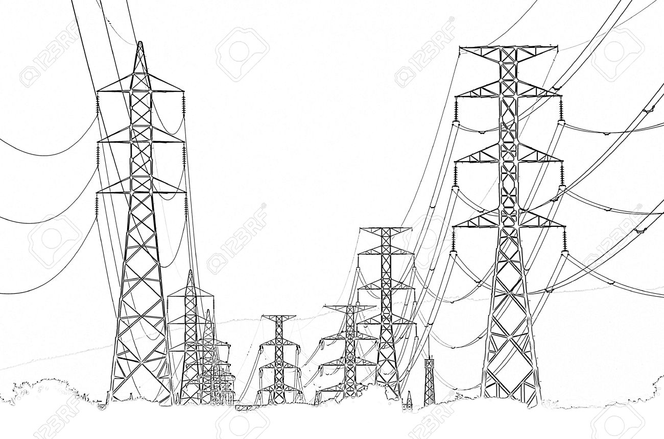 High Voltage Power Pylons Clip Art, Thailand Stock Photo, Picture.