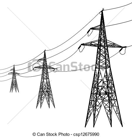 EPS Vectors of Silhouette of high voltage power lines. Vector.