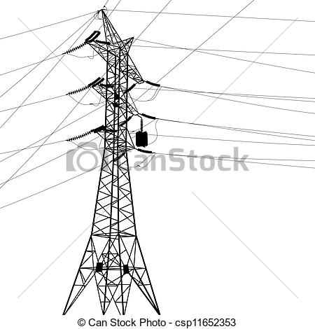 Clipart Vector of Silhouette of high voltage power lines. Vector.