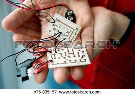 Picture of Printed circuit board, PCB. Mechanically support and.