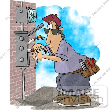 Cartoon electrician clipart.