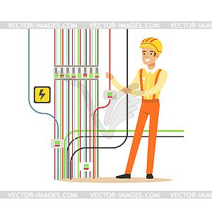 Professional electrician man character repairing.