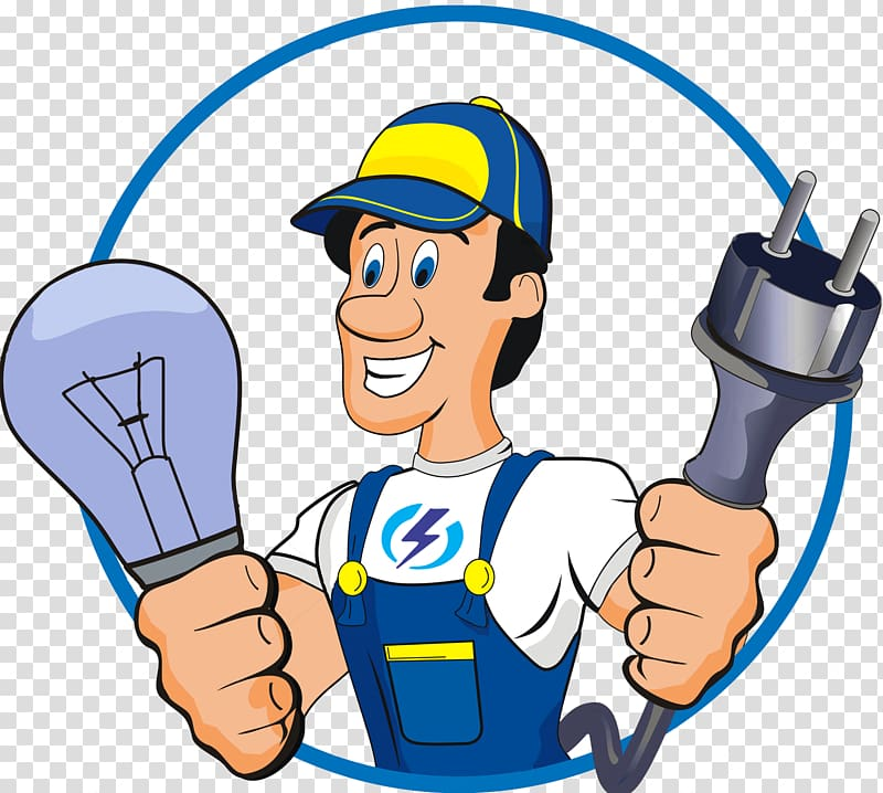 Man holding bulb and socket , Electrician Electricity Handyman.