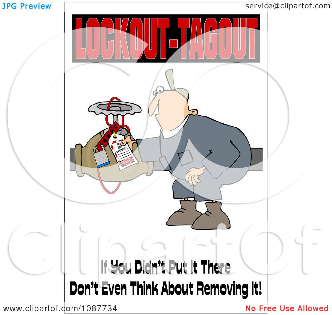 Clipart Electrician With A Safety Warning.