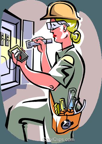 electrician Royalty Free Vector Clip Art illustration.