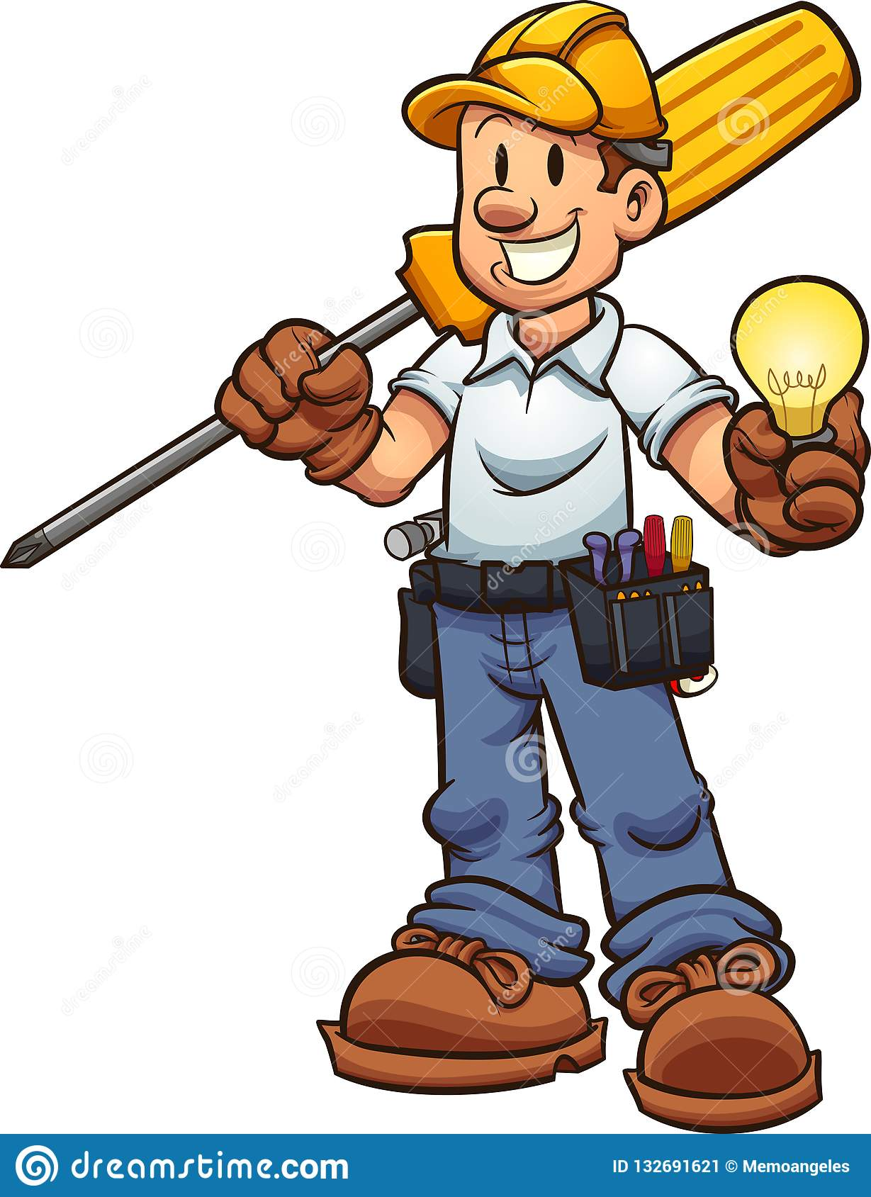 Cartoon Electrician Holding An Oversized Driver And A Lightbulb.
