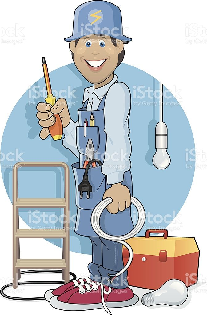 A Vector Illustration of a Electrician at Work..