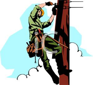An Electrician Working on a Power Pole.