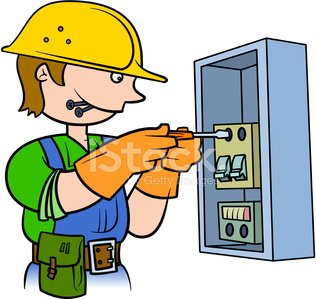 Electrician repairing an electrical panel Clipart Image.