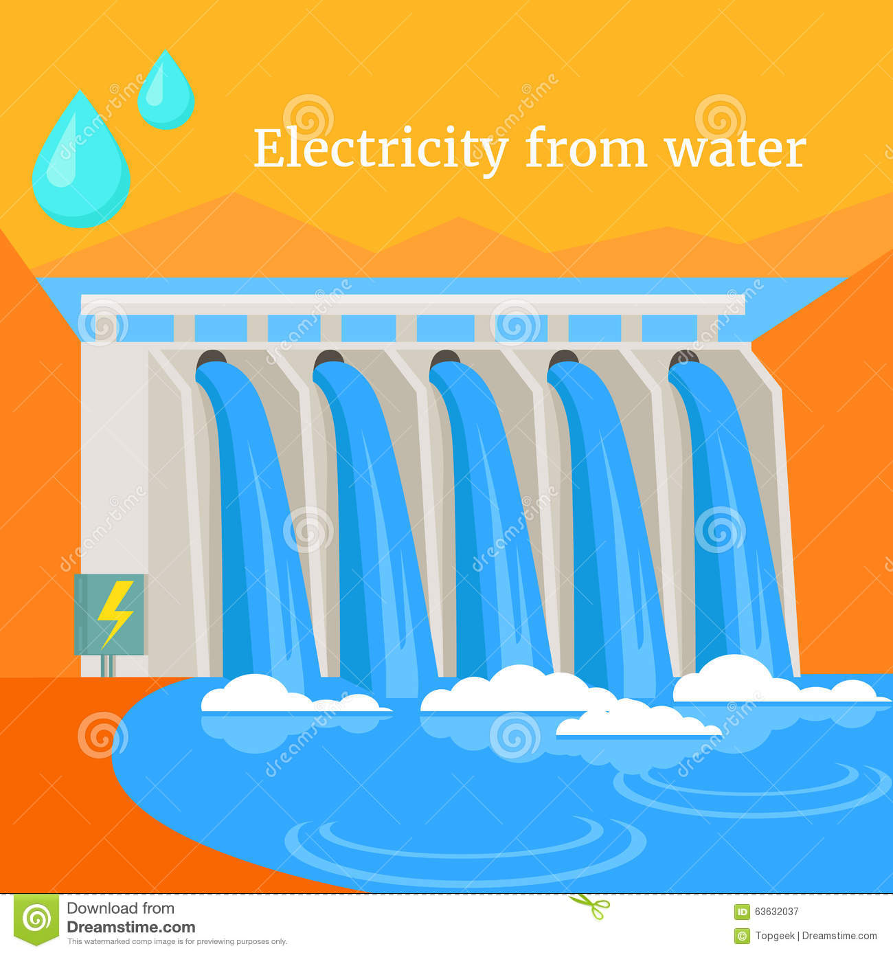 Electricity From Water Design Flat Stock Vector.