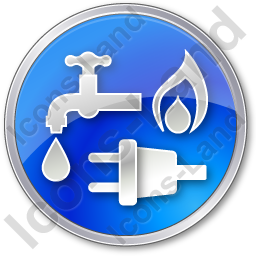 Water Gas Electricity Circle Blue Icon, PNG/ICO Icons, 256x256.