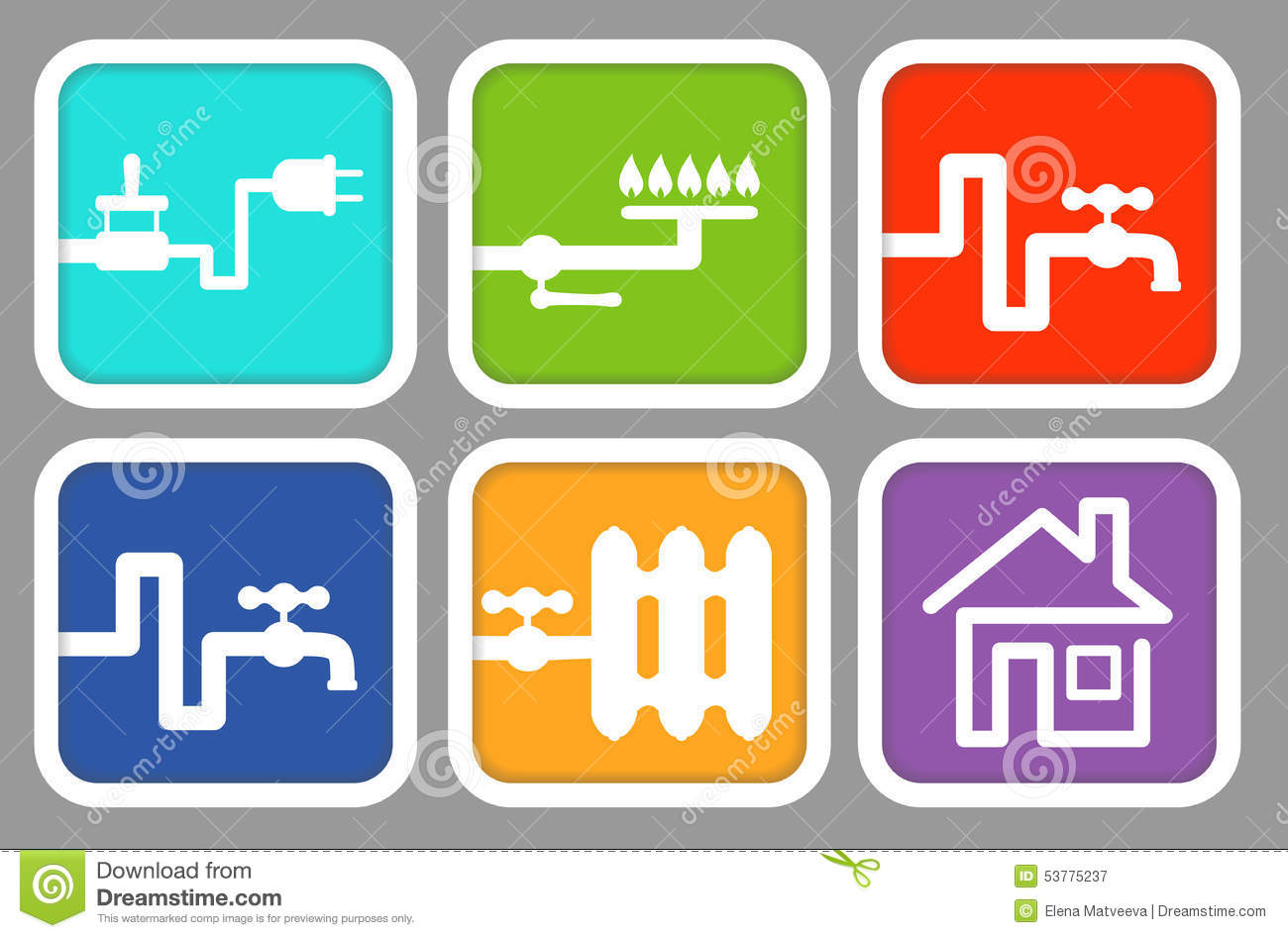 Icons Utility Meters: Electricity, Gas, Cold Water, Hot Water.