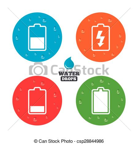 Vector of Battery charging icons. Electricity symbol..