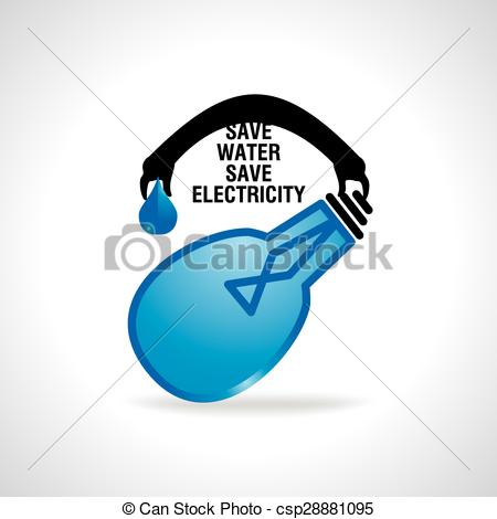 EPS Vectors of save water concept save electricity idea.