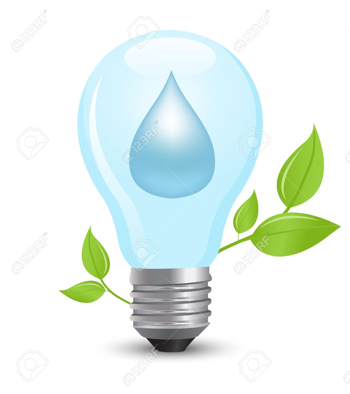 Electric Light Bulb Symbolizing Energy Of Water Royalty Free.