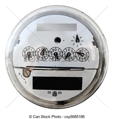 Stock Image of Analog electric meter display round glass cover.